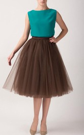 Brown Tulle Tutu Skirt Tea Length Dress