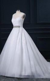 Cathedral Train Tulle Lace Satin Dress With Beading Appliques Illusion