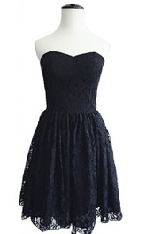 Vintage Strapless Lace Dress With Zipper Back