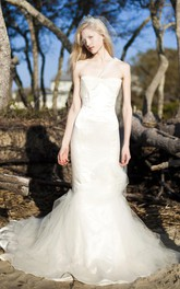 Organic Convertible One Shoulder Satin Tulle Mermaid Trumpet Formal Bridal Gown