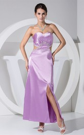 Sweetheart Ruched Ankle-Length Dress with Beading and Keyhole