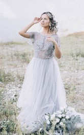 Simple Tulle Boho Open Back Wedding Dress With Lace Appliques