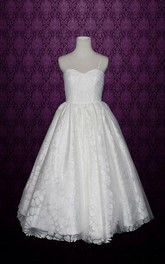Spaghetti A-Line Tea-Lrngth Satin Wedding Dress With Ruching