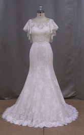 Bateau Neck Lace Mermaid Wedding Dress With Cape