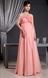 Chiffon Empire Long Dress With Floral Top