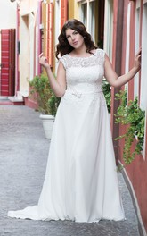 A-Line Long Bateau Neck Cap Chiffon Lace Bow Brush Train Bow Dress