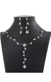 Chic Rhinestone Leaves and Flowers Design Necklace and Earrings Bridal Jewelry Set