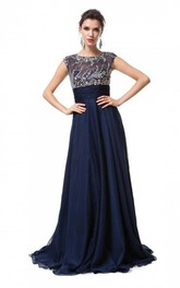 A-Line Princess Sleeveless Scoop Floor-Length Chiffon Beading Dresses