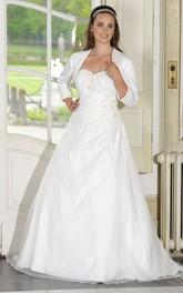 A-Line Long Sweetheart Long Sleeve Satin Draping Dress