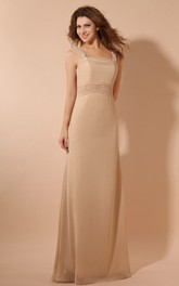 Chiffon Elegant Maxi Dress With Ruching Waist And Cape