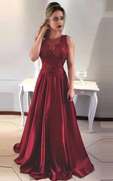 Two Piece Round Neck Tiered Open Back Prom Dress with Appliques