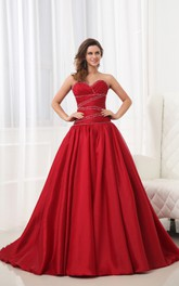 A-Line Ruby Sweetheart Sleeveless Dress With Draping And Ruching