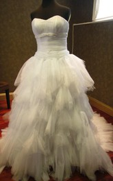 Sweetheart Lace-Up Back Tulle Wedding Dress With Ruffles Ruching And Beading