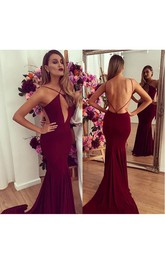 Sexy Backless Mermaid Burgundy Prom Dresses 2018 Floor Length
