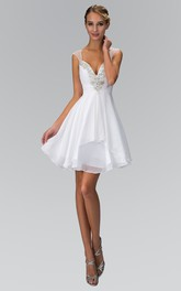 A-Line Short Queen Anne Sleeveless Chiffon Dress With Ruching And Beading