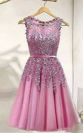 A-line Bateau Sleeveless Appliques Pleats Sash Ribbon Knee-length Lace Tulle Homecoming Dress