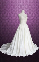 Spaghetti Backless Floor-Length Satin Wedding Dress With Ruching
