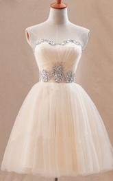 Cute Sweetheart Short Tulle Homecoming Dress With Crystals