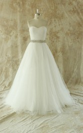 Sweetheart Backless Tulle Wedding Dress With Sash And Crystal Detailing