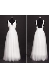 Straps Neck Straps Back Floor-Length Tulle Wedding Dress