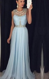 Modern Beadings Jewel A-line 2018 Prom Dress Sweep Train