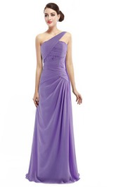 One-shoulder Long Chiffon Dress With Ruching