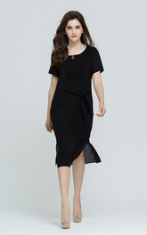Black Short Sleeve Sheath Dress with Side Vent