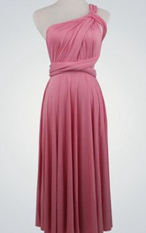 One-shouldered Sleeveless Gown With Ruched Bodice