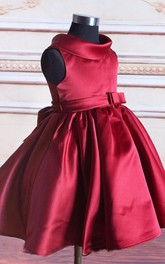 Sleeveless High Neck Pleated Satin Dress With Bow Belt