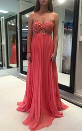 Modern Pink Appliques Chiffon Prom Dress 2018 Sweetheart Sleeveless