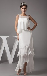 Sleeveless Chiffon Tiered High-Low Dress with Illusion Neckline