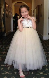 Princess Sleeveless Lace Bodice Tulle Dress With Bow