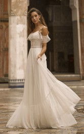 Spaghetti Straps Off-the-shoulder Adorable Tulle Wedding Dress With Lace Details