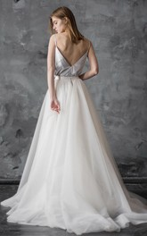 Spaghetti-Strap A-Line Dress With Tulle Skirt And Deep-V Back