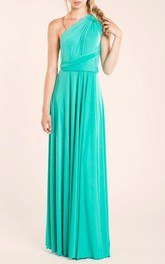 Floor-length Jersey&Satin Dress