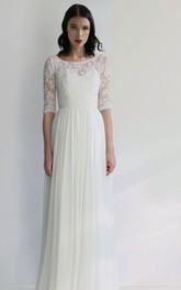 Simple Sheath Chiffon Bateau Half-Sleeve Long Bridal Gown