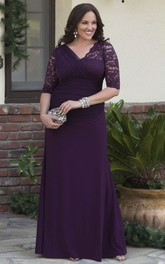 3/4 Sleeve Sheath V-neck Jersey Gown With Lace And Tulle Tiered Appliques