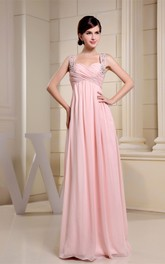 Strapped Chiffon Empire Dress with Pleats and Crystal Detailing