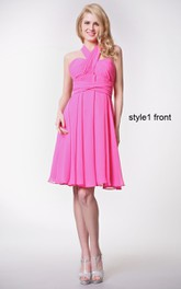 Sweetheart Ruched Short Chiffon Dress With Convertible Straps