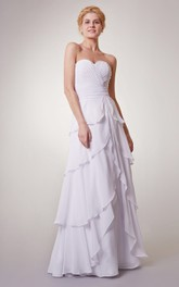 Empire Sweetheart Chiffon Long Dress With Tiers