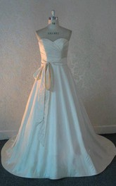Sweetheart A-Line Floor-Length Satin Wedding Dress With Sash