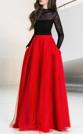 Floor-length Tulle&Satin Dress