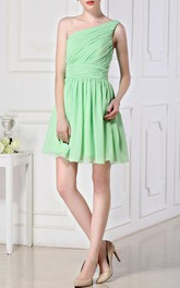 A-line Short Knee-length One-shoulder Chiffon Dress