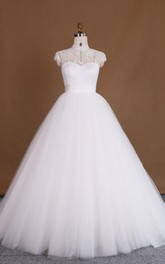 Ball Gown High Neck Cap Sleeve Lace Satin Dress With Appliques Illusion