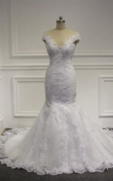 V-Neck Cap Sleeve Lace Mermaid Wedding Dress With Court Train