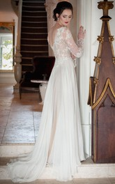 Sheath V-Neck Illusion-Sleeve Chiffon Wedding Dress