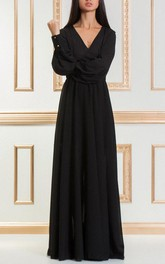 Floor-length V-neck Long Sleeve Chiffon Dress