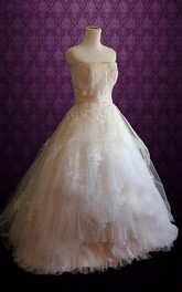 Sleeveless Tulle Wedding Dress With Sash And Appliques