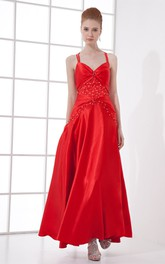 spaghetti-strap satin ankle-length dress with pleats and beading