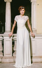 Floor-Length Jersey Satin Lace Wedding Dress